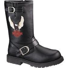 HARLEY DAVIDSON FULL THROTTLE BOOTS BLACK BIKERS BOOTS D71135 YOUTH