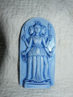 PAGAN/WICCAN HECATE GODDESS STATUE 4 1/2 GODDESS blue GYPSUM STONE