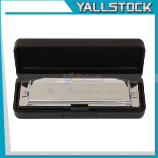 Silver Swan Metal 10 Holes Key Of C Harmonica with Case High Quality