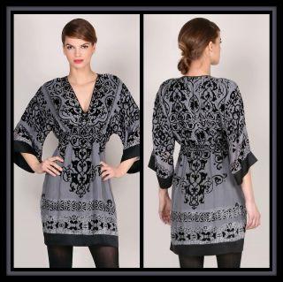 Hale Bob Grey Silk Velvet Dress XS 0 2 4 NWT New Neutral Renaissance