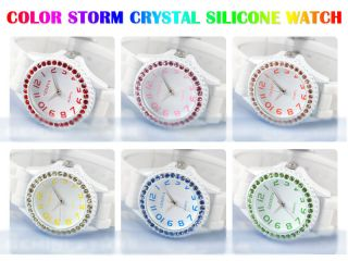 Fashion Color Storm Crystal Men Lady White Silicone Gel Rubber Jelly