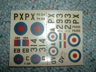 Frog Decals 1/72 Kit# F 239 De Havilland Hornet f.Mk.3 LL