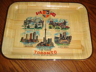 Vintage Bamboo Souvenir Tray Toronto Rectangular Gold Tone Metallic
