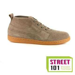 Mens Puma Hawthorn Mid Brown Suede High Top Trainers