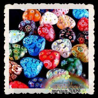 Loose Beads 50PCS SHINNING HEART MILLEFIORI GLASS BEADS 10MM #A6