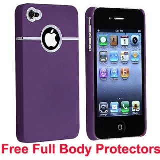 PURPLE HARD CASE COVER FOR APPLE IPHONE 4 4S 4G + Full Body Protectors