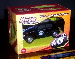 HERBIE THE LOVE BUG FULLY LOADED PULL BACK CAR BLACK PULLBACK   BRAND
