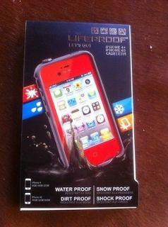 USED Lifeproof Waterproof case iPhone 4S 4 RED w headphone adapter