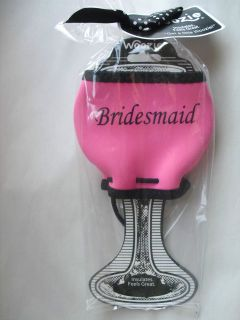 Woozie Bridesmaid Wine Glass Cover Pink Wedding Bride Groom Coozie