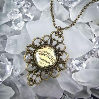 Ouija Board Horror Haunted Halloween Ornate Antique Bronze Necklace