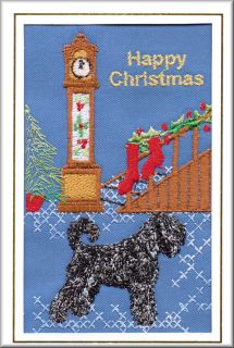 Russian Black Terrier Christmas Card Embroidered by Dogmania