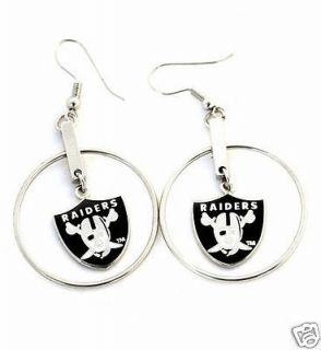 Oakland Raiders Hoop Logo Dangle Earrings Silver Licensed NFL NEW
