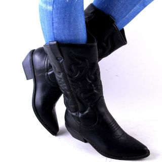 NEW WOMENS BLACK QUILTED CLASSIC WESTERN COWBOY BOOTS SIZE 9