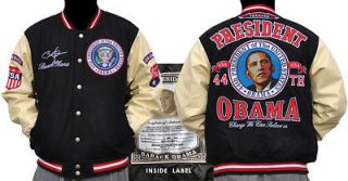 President Barack Obama Black White Varsity Jacket BlacK Wool Jacket L