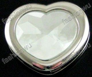 Lovely Clear Crystal Love Heart Hand Bag Hook Holder