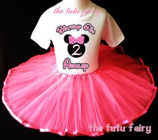 Birthday Shirt & pink tutu set outfit name age 1st 12 18 24m 2t 3 7