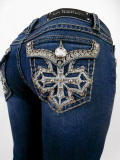 LA Idol Jeans Tribal Embroidery Crystal Cross Whip Stitch Bootcut