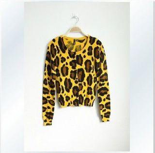 New Fashion H&M Stylish Leopard Print Svelte Design Sweater Cardigan S