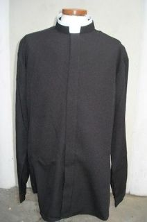 new long sleeve black clerical shirt with rabat collar from