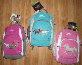 Girls HORSE Backpack~High Sierra~Pinks~B​lues~GORGEOUS HORSES~NWT