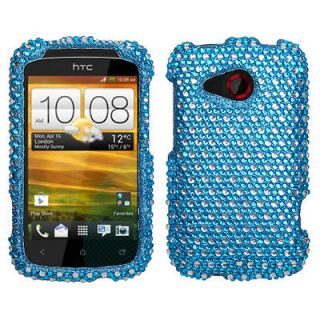 For AT&T HTC Desire C Case Cover Bling Rhinestones Dots Blue/white
