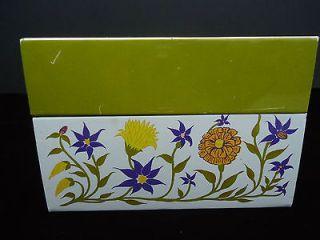 Retro Flower Power Recipe Tin with dividers 1960s 1970s hippie kitchen