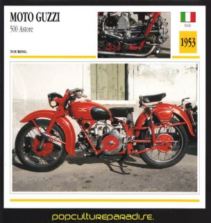 1953 MOTO GUZZI 500 ASTORE Motorcycle ATLAS PHOTO CARD