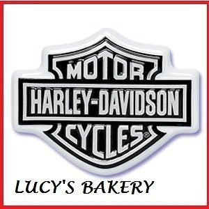 NEW DESIGN CUPCAKE BIRTHDAY CAKE TOPPER BLACK HARLEY DAVIDSON FLAMES
