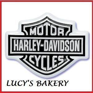 NEW DESIGN CUPCAKE BIRTHDAY CAKE TOPPER BLACK HARLEY DAVIDSON FLAMES