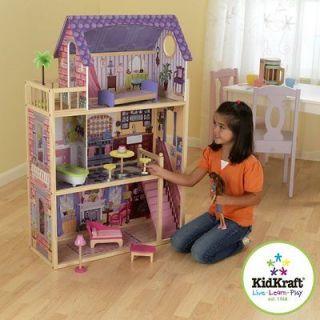 KidKraft Hannah Wooden Dollhouse Pretend Play Doll House & Furniture