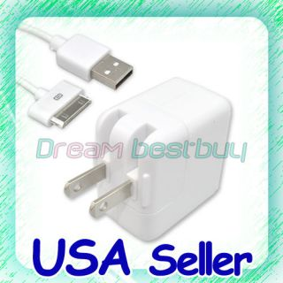 10W USB Wall Charger Adapter+Cable For iPad 1/2 iPhone 4/3GS/3G
