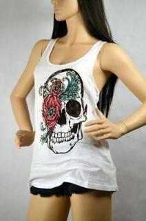 Iron Fist Mourning Glory Zip Zipper Tank Top Shirt Skull Tattoo Design