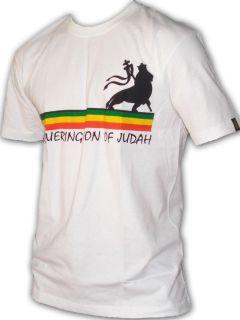 Rasta Reggae Tee T SHIRT Lion Of Judah Line White UK