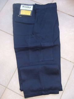 NEW MENS RICKY NAVY BLUE WORK CARGO PANTS SIZE 38