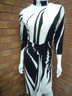 ISSA BLACK & CREAM 100% SILK JERSEY RUCHED DRESS RETAIL £550 SIZE 8