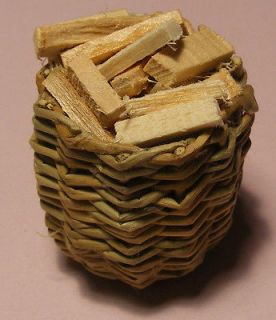 Basket Of Logs For Fire Wood Dolls House Miniature Garden Accessory