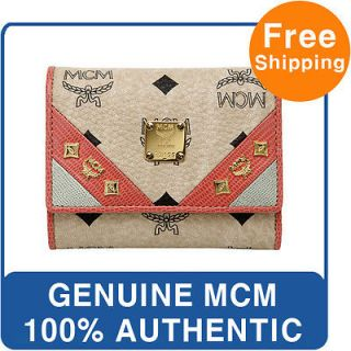 NEW GENUINE MCM VISETOS CALF MIDDLE HALF WALLET