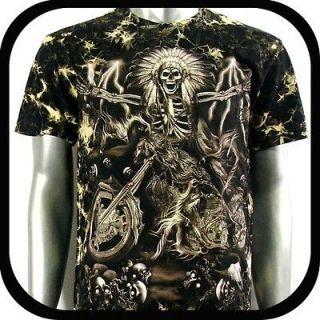 Shirt Biker Street Rock Art Tattoo S38 Sz L Heavy Metal Rider Indie
