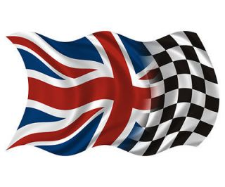 Union Jack Racing Flag British UK Race Car Vinyl Sticker Decal (R) SFV