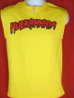 Hulkamania Hulk Hogan Yellow Muscle T shirt New