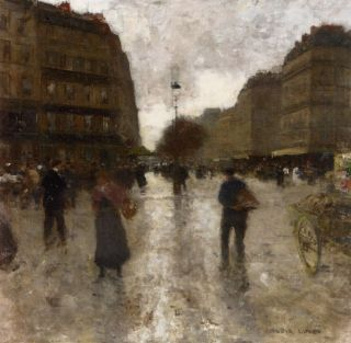 luigi loir oil painting repro a parisian street scene from