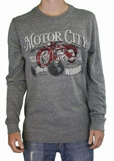 Lucky Brand Jeans Mens Motor City Iron Works T Shirt Gray 7MD8601 HEG