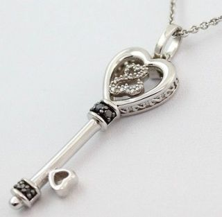Jane Seymour Key Open Heart 1/15ct Diamond Pendant/Necklace Sterling