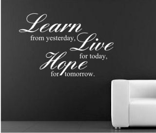 learn live hope wall art sticker mural kitchen quote rc