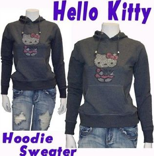 Cute Hello Kitty Sweater with Hoodie,Lot Studs,Elastic Waist Gray