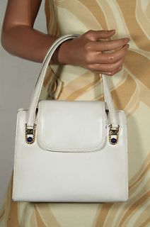 GUCCI Italian VINTAGE White Leather Tote HANDBAG Purse w/ LAPIS