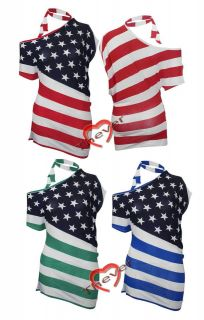 Womens Ladies American USA Flag Star and Stripe One Shoulder