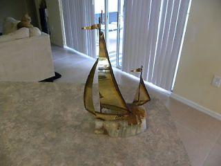 Mario Jason 2 sailboat brass metal on marble base sculpture 9 1/4