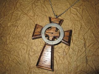 Boondock Saints Style Iona Wood Cross W/Steele Chain