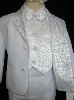 Baby,Toddler & Boy Baptism Wedding Formal White no tail Tuxedo Suit S